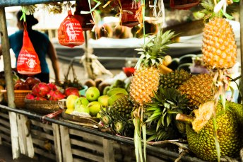 Fruit at the floating market on the Mekong river.