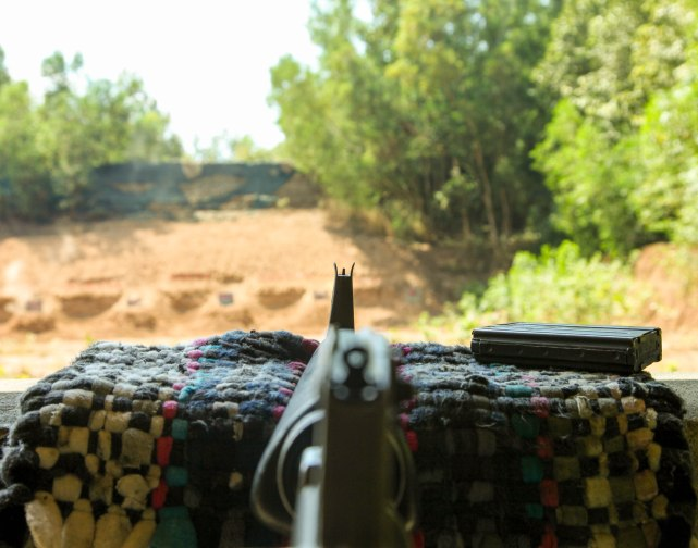 Looking down the sights of an M16 at the Chu Chi Tunnels.