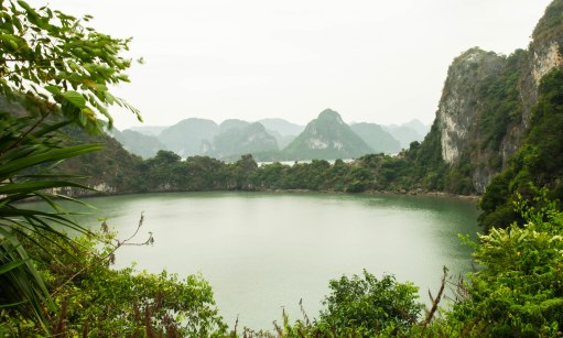 A peek into one of the lagoons of Halong Bay.