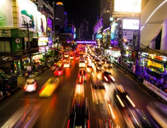 The buzzing streets of Bangkok.