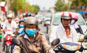 Face to face with a moped driver of Vietnam.