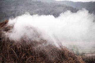 The smoke that drifts off a bonfire on the farm.