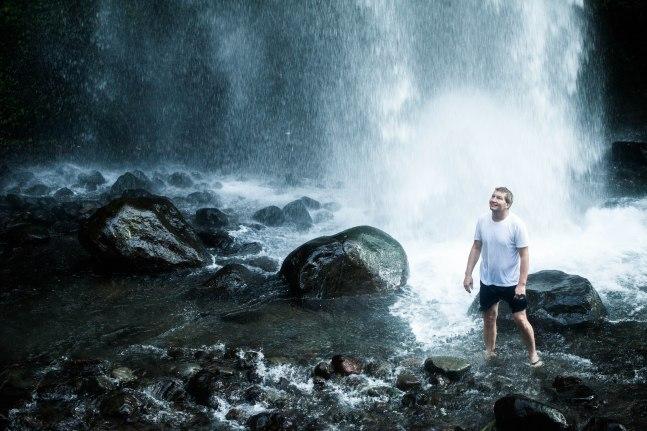 Gazing up at the power of Gunung Rinjani's largest waterfall.